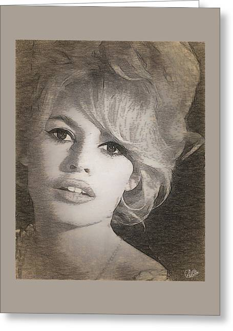 Brigitte Bardot Greeting Card by Quim Abella
