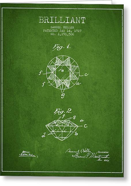 Gemstone Greeting Cards - Brilliant Patent From 1919 - Green Greeting Card by Aged Pixel