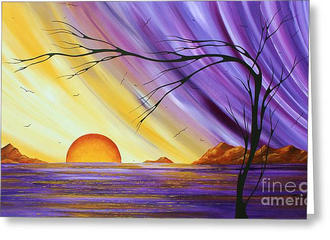 Huge Abstract Art Greeting Cards - Brilliant Purple Golden Yellow Huge Abstract Surreal Tree Ocean Painting ROYAL SUNSET by MADART Greeting Card by Megan Duncanson