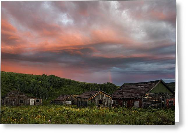 Steamboat Springs Western Greeting Cards - Brilliant skies over a ghost town near Steamboat Springs Colorado Greeting Card by Dave Dilli