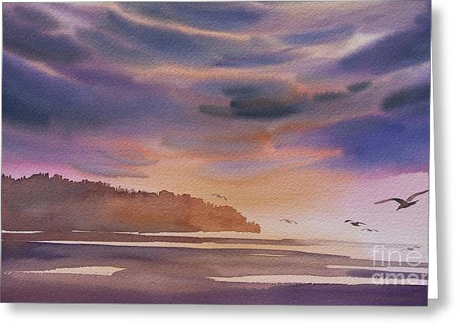 Landscape Framed Prints Greeting Cards - Brilliant Sunset Greeting Card by James Williamson