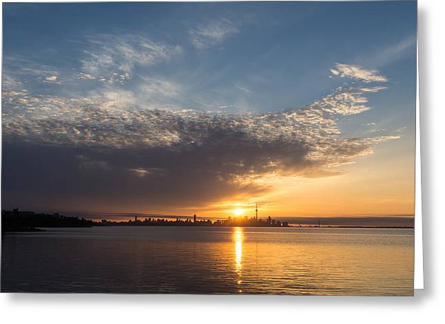 Gloaming Greeting Cards - Brilliant Toronto Skyline Sunrise Over Lake Ontario Greeting Card by Georgia Mizuleva