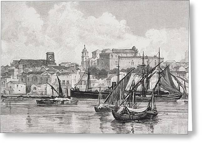 Mediterranean Landscape Drawings Greeting Cards - Brindisi Italy The Harbour From The Greeting Card by Ken Welsh