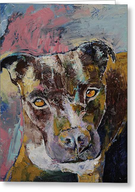 Brindle Bully Greeting Card by Michael Creese