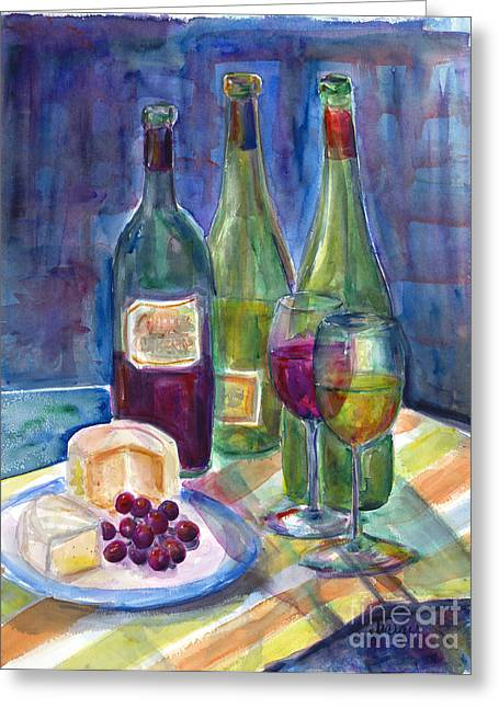 Winebottle Greeting Cards - Bring on the Crackers Greeting Card by Jill Targer