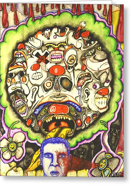 Hallucination Drawings Greeting Cards - Bring Out The Clowns Greeting Card by Sam Hane