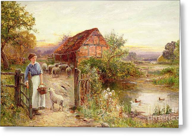 Duck Pond Greeting Cards - Bringing Home the Sheep Greeting Card by Ernest Walbourn