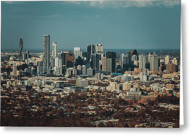 River View Mixed Media Greeting Cards - Brisbane Cityscape from Mount Cootha #2 Greeting Card by Stanislav Kaplunov