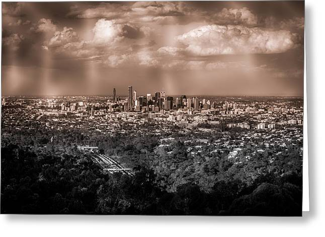 River View Mixed Media Greeting Cards - Brisbane Cityscape from Mount Cootha #4 Greeting Card by Stanislav Kaplunov