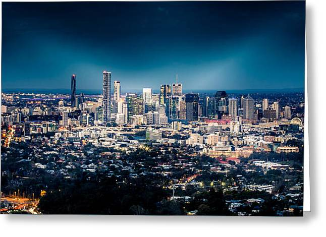 River View Mixed Media Greeting Cards - Brisbane Cityscape from Mount Cootha #6 Greeting Card by Stanislav Kaplunov