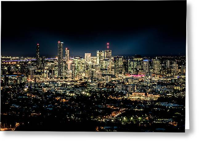 River View Mixed Media Greeting Cards - Brisbane Cityscape from Mount Cootha #7 Greeting Card by Stanislav Kaplunov