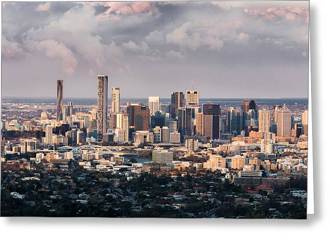 Street Pyrography Greeting Cards - Brisbane Cityscape from Mount Cootha Greeting Card by Stanislav Kaplunov