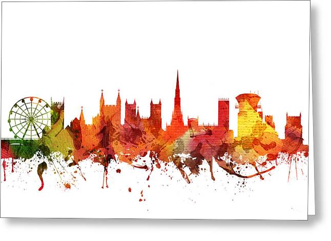 Watercolour Drawings Greeting Cards - Bristol Cityscape 04 Greeting Card by Aged Pixel