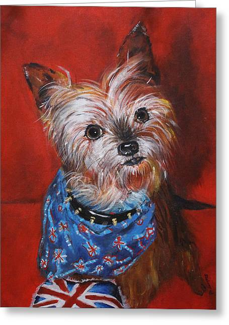 Head Stand Paintings Greeting Cards - Brit-pup Greeting Card by Sonya Delaney