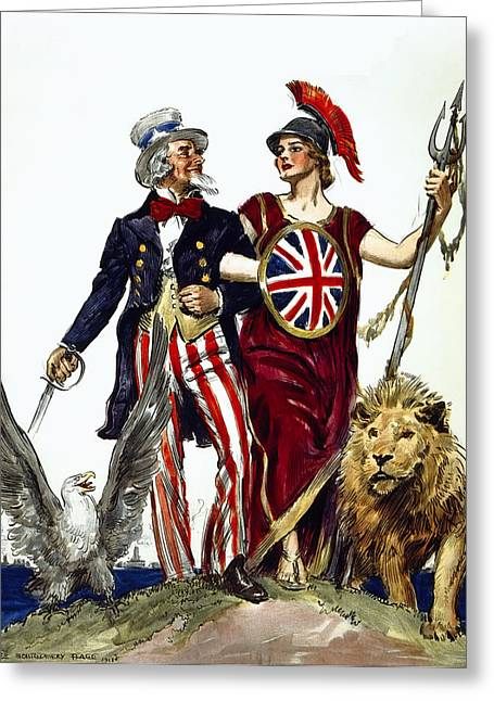Solidarity Greeting Cards - BRITANNIA and UNCLE SAM - FRIENDS and ALLIES Greeting Card by Daniel Hagerman