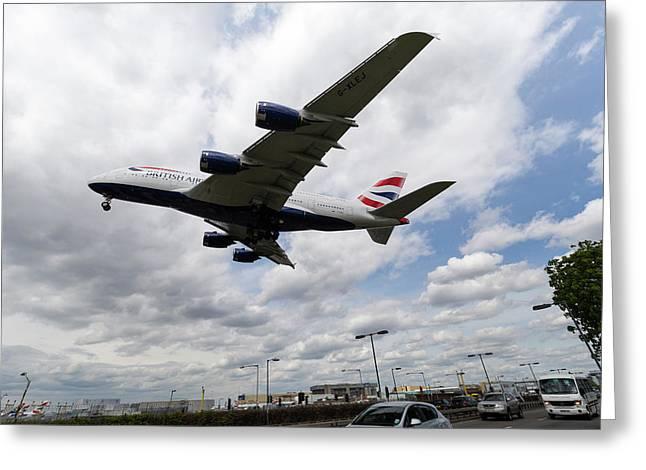 British Airways A380 Heathrow Airport Greeting Card by David Pyatt