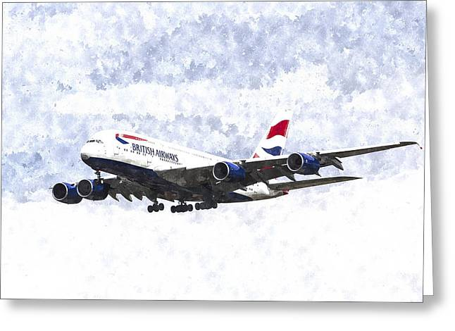 A380 Greeting Cards - British Airways Airbus A380 Art Greeting Card by David Pyatt