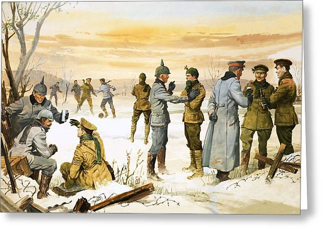 One Spirit Greeting Cards - British and German soldiers hold a Christmas truce during the Great War Greeting Card by Angus McBride