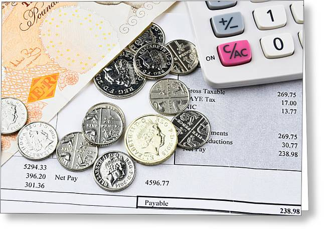 Coins Greeting Cards - British  banknotes and coins with calculator Greeting Card by Robert Chlopas