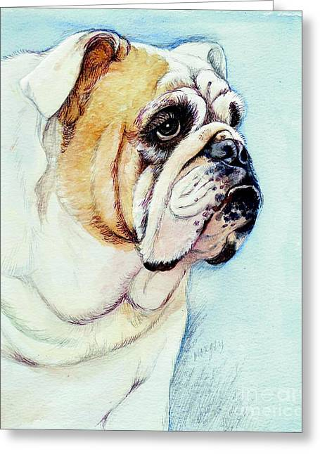 Bulldog Paintings Greeting Cards - British Bulldog Greeting Card by Morgan Fitzsimons