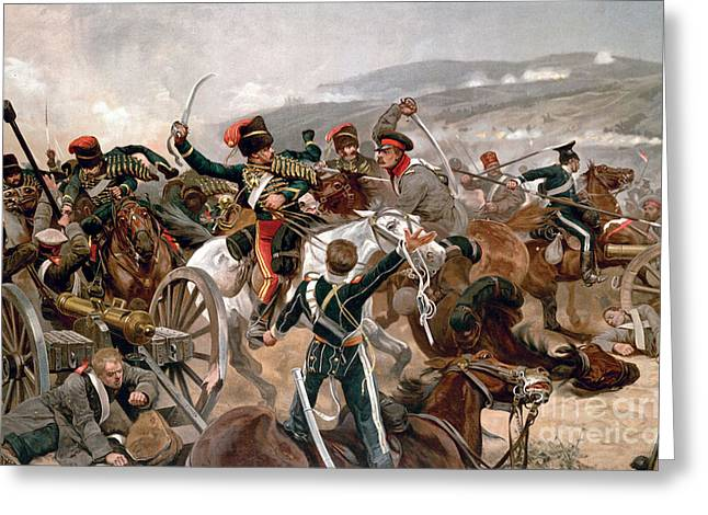 Balaclava Greeting Cards - British cavalry charging against Russian forces at Balaclava Greeting Card by Celestial Images