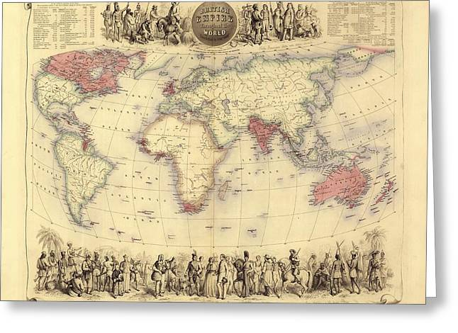British Empire Greeting Cards - British Empire World Map, 19th Century Greeting Card by Library Of Congress