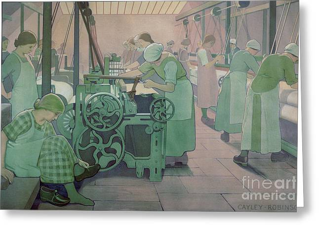 Cog Greeting Cards - British Industries - Cotton Greeting Card by Frederick Cayley Robinson
