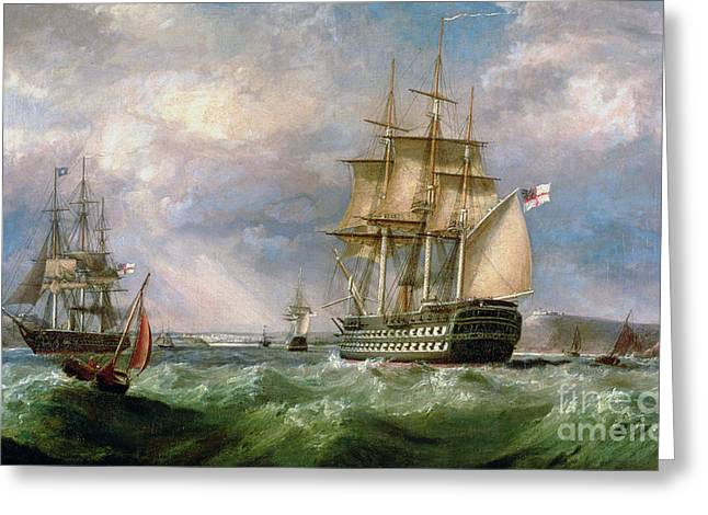 British Men-o'-war Sailing Into Cork Harbour  Greeting Card by George Mounsey Wheatley Atkinson