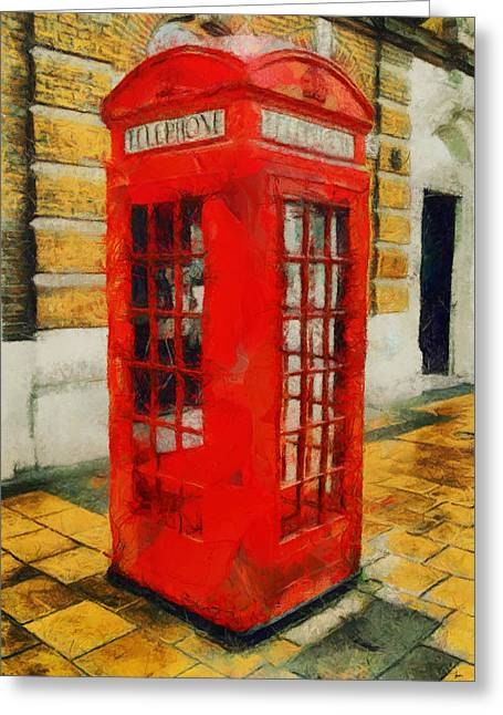 British Celebrities Greeting Cards - British - Phone - Booth Greeting Card by Sir Josef  Putsche Social Critic