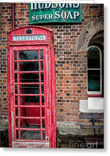 Disused Greeting Cards - British Phone Box Greeting Card by Adrian Evans