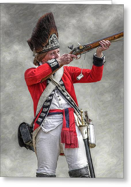 Militaria Greeting Cards - British Redcoat Firing Musket Portrait  Greeting Card by Randy Steele