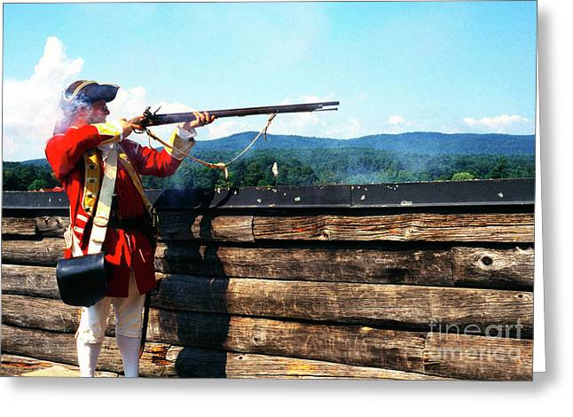 Mohican Greeting Cards - British Soldier Firing Musket Greeting Card by Thomas R Fletcher