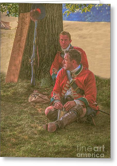 Powder Greeting Cards - British Soldiers in Camp Greeting Card by Randy Steele