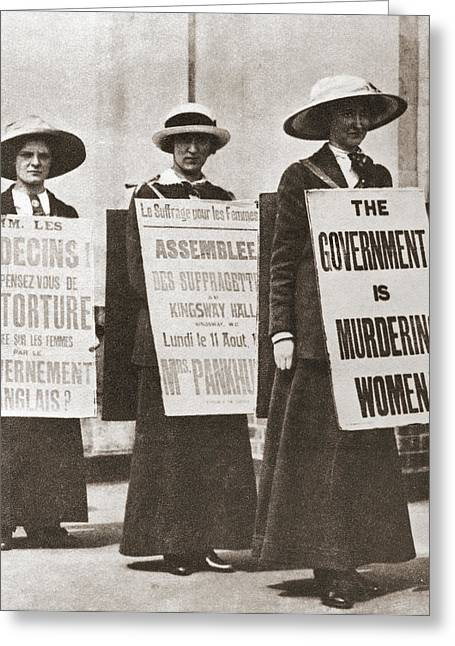 Equality Drawings Greeting Cards - British Suffragettes C.1910. From The Greeting Card by Ken Welsh