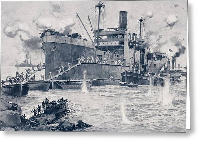 White River Scene Drawings Greeting Cards - British Troops Landing From The 2000 Greeting Card by Vintage Design Pics