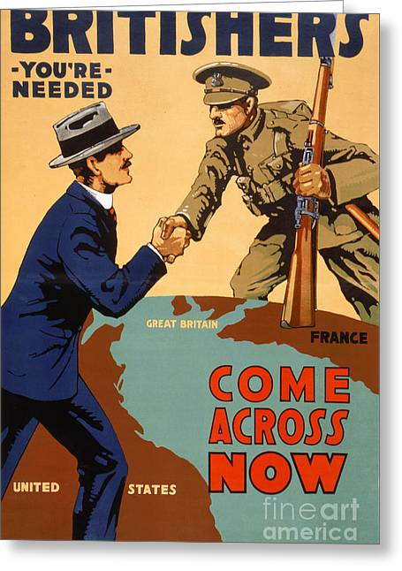 Wwi Greeting Cards - Britishers youre needed Vintage Poster Greeting Card by Carsten Reisinger