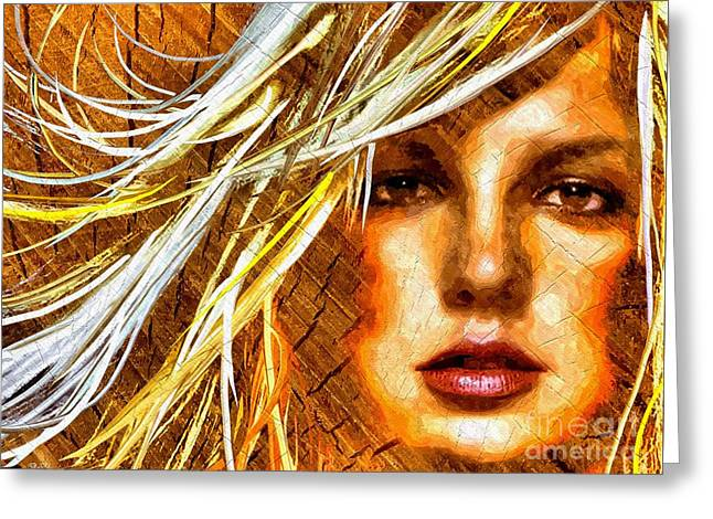 Britney Spears Greeting Cards - Britney Spears Wooden Greeting Card by Daniel Janda