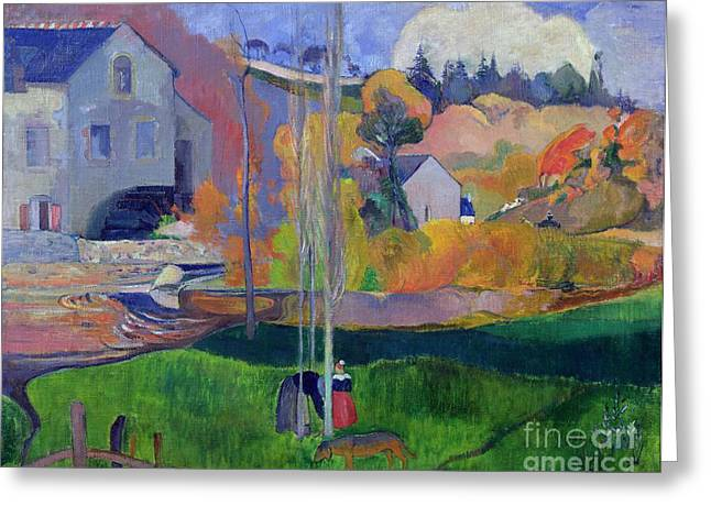 1894 Greeting Cards - Brittany Landscape Greeting Card by Paul Gauguin