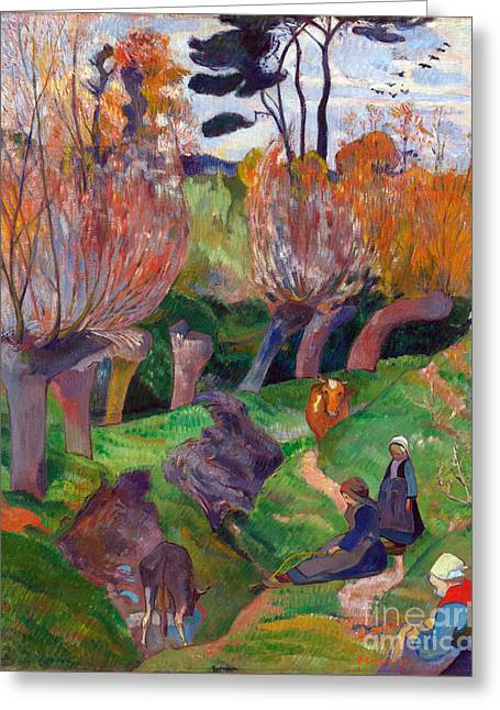 Vintage Painter Greeting Cards - Brittany Landscape with cows Greeting Card by Gauguin
