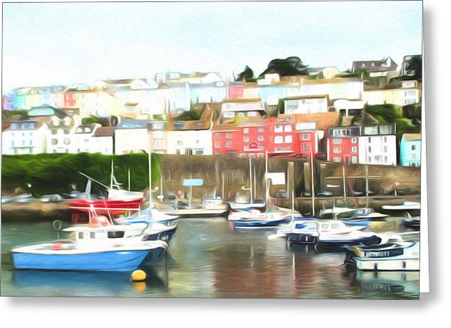 Seaside Digital Greeting Cards - Brixham colours Greeting Card by Sharon Lisa Clarke