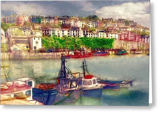 Fishing Boats Greeting Cards - Brixham Harbour Greeting Card by John K Woodruff