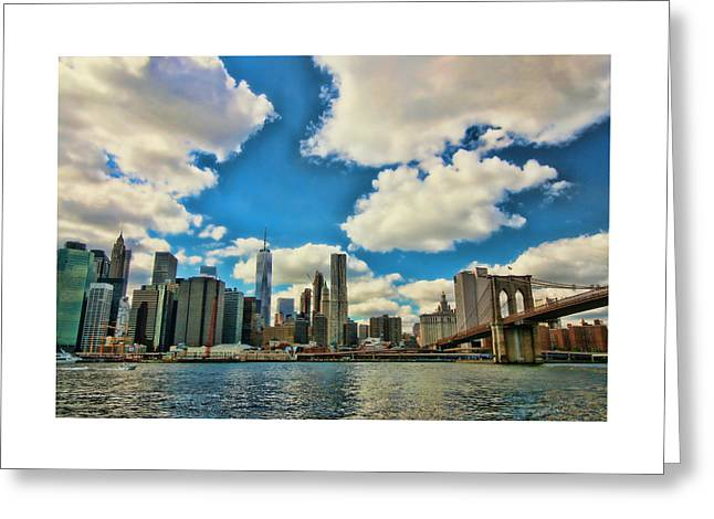 River View Greeting Cards - Brooklyn Bridge and the Lower Manhattan Financial District 2 Greeting Card by Allen Beatty
