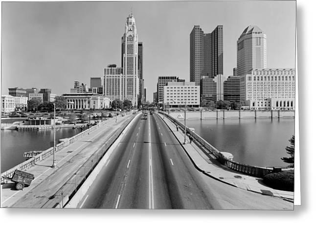 1980s Greeting Cards - Broad Street Bridge - Columbus Ohio 1989 Greeting Card by Fredrick Marsh
