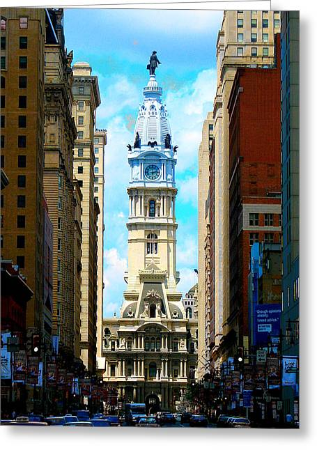 Phillies Framed Prints Greeting Cards - Philadelphia Greeting Card by Christopher Woods