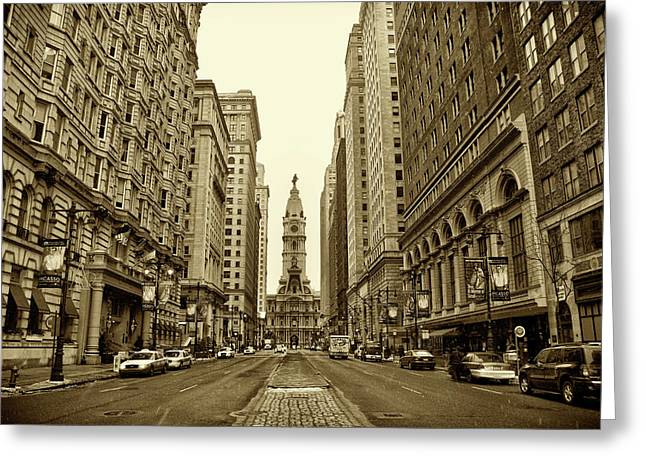 Broad Street Facing Philadelphia City Hall In Sepia Greeting Card by Bill Cannon