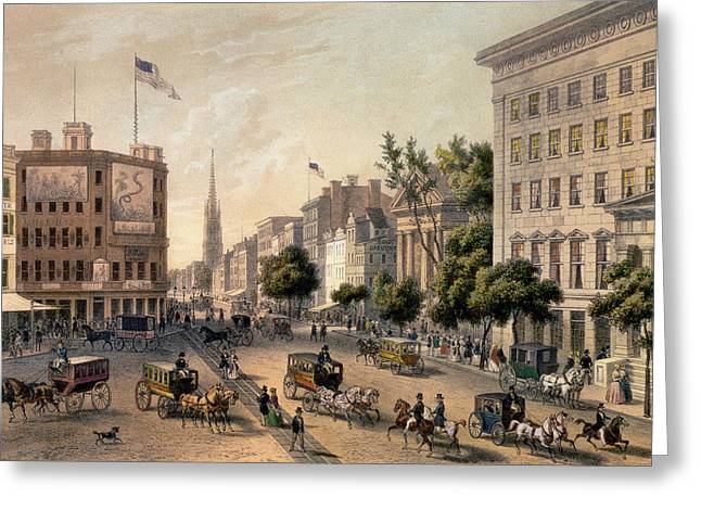 Coach Greeting Cards - Broadway in the Nineteenth Century Greeting Card by Augustus Kollner