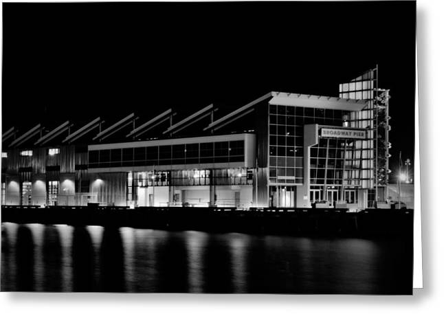 San Diego Harbor Cruise Greeting Cards - Broadway Pier- Black Greeting Card by See My  Photos