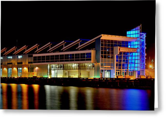 San Diego Harbor Cruise Greeting Cards - Broadway Pier- Night Greeting Card by See My  Photos