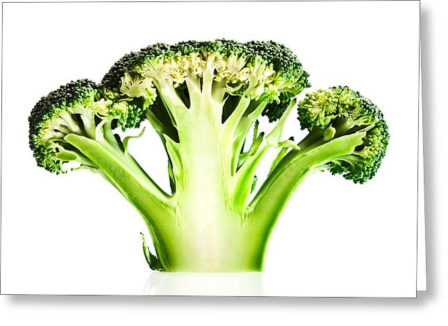 Broccoli Photographs Greeting Cards - Broccoli cutaway on white Greeting Card by Johan Swanepoel