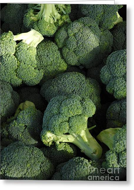 Broccoli Greeting Cards - Broccoli in the perfect light Greeting Card by Micah May